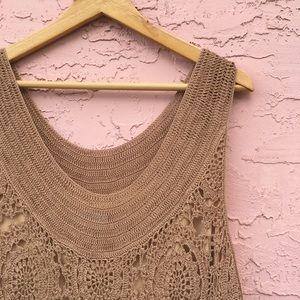 Soft Surroundings Beige Crocheted Dress